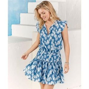 NWT Mud Pie Danielle Smocked Flutter Sleeve Dress